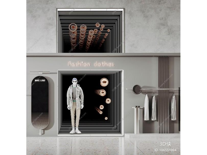 现代服装店 橱窗 服装货架