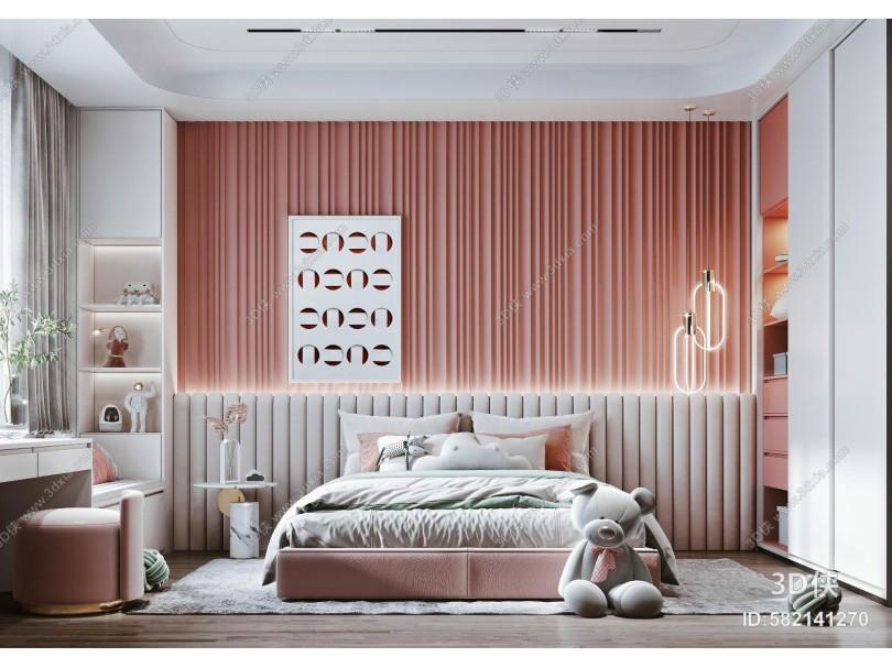 现代女孩房 床 床头背景