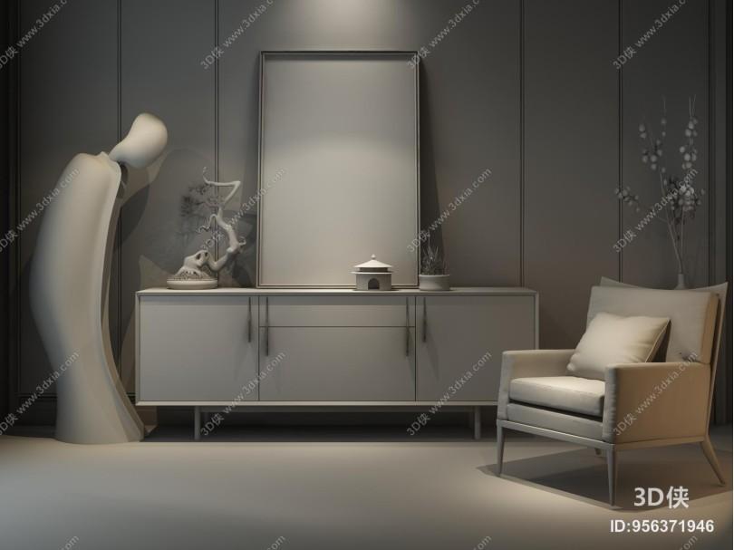 新中式电视柜 边柜
