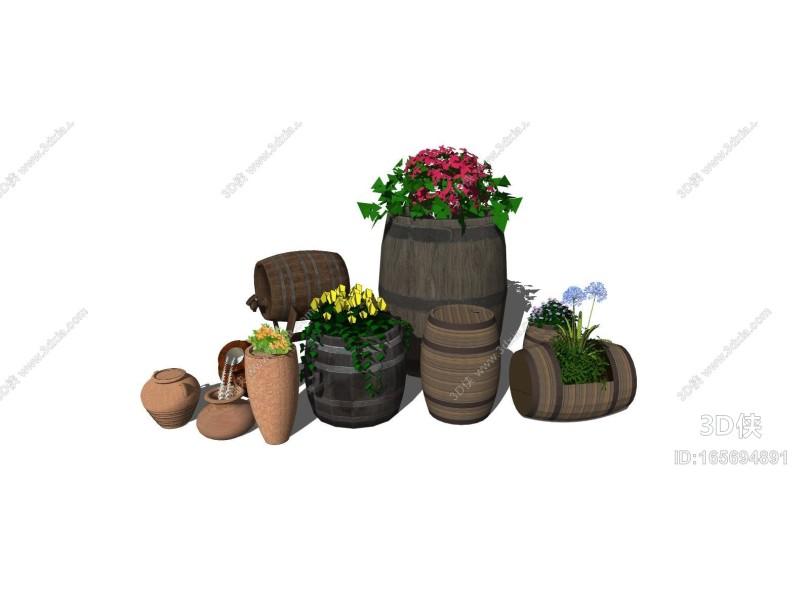 现代盆栽 木桶 酒桶