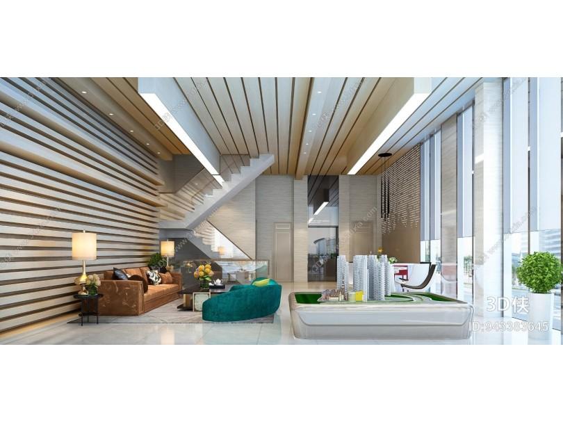 现代售楼处 大厅 接待厅 沙发茶几 建筑模型 水吧台