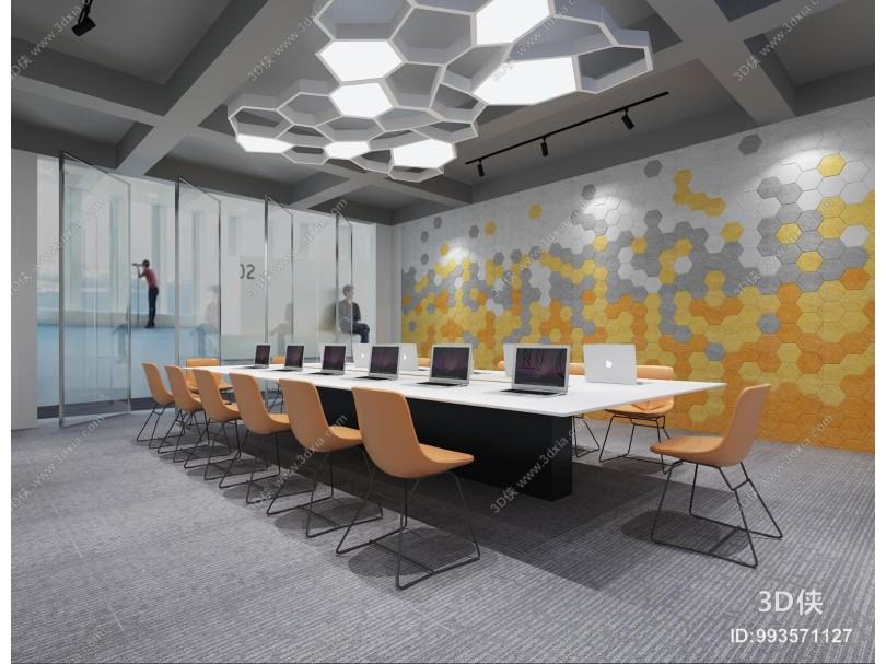 现代会议室 吊灯 会议桌椅