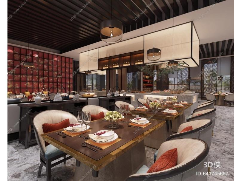 新中式酒店大堂餐厅吊灯餐具