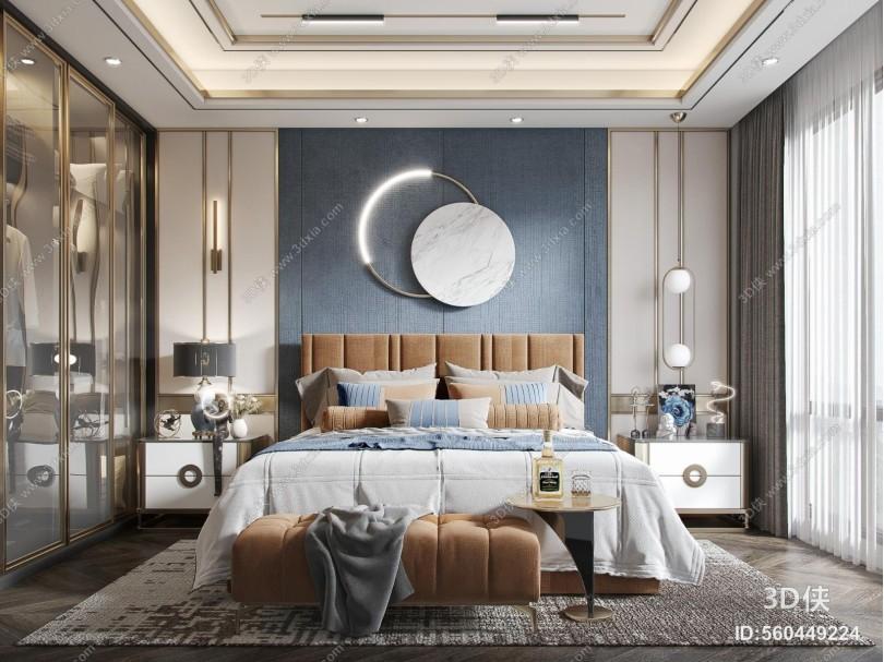 现代轻奢卧室 双人床 台灯 床头柜 吊灯 装饰品 床榻 衣柜
