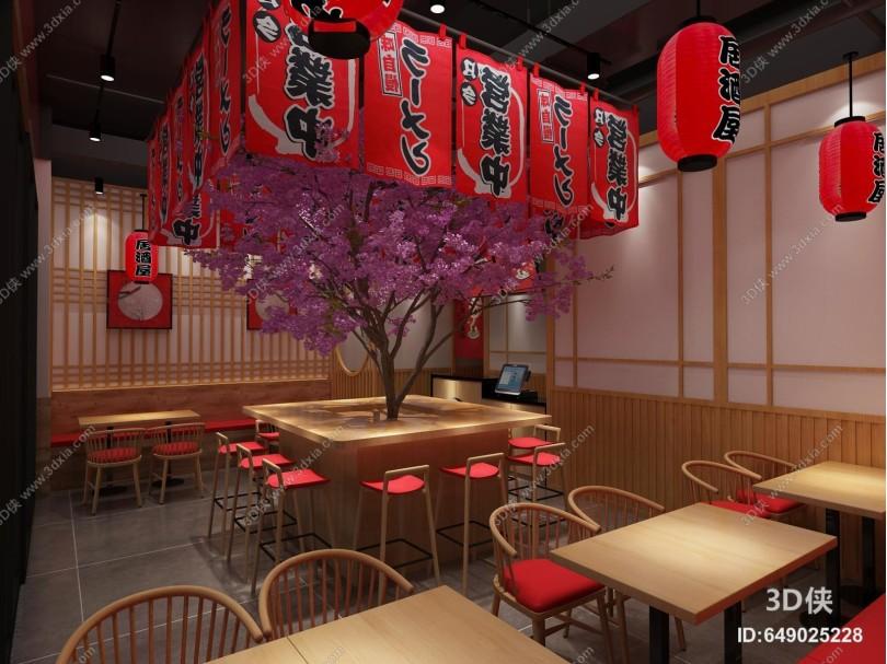 日式料理餐廳 吊燈 掛畫
