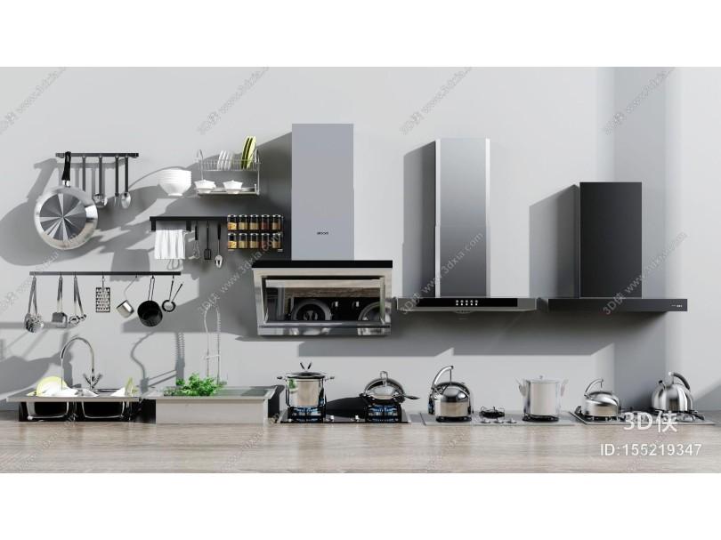 现代厨房用品组合 油烟机 燃气灶 水槽
