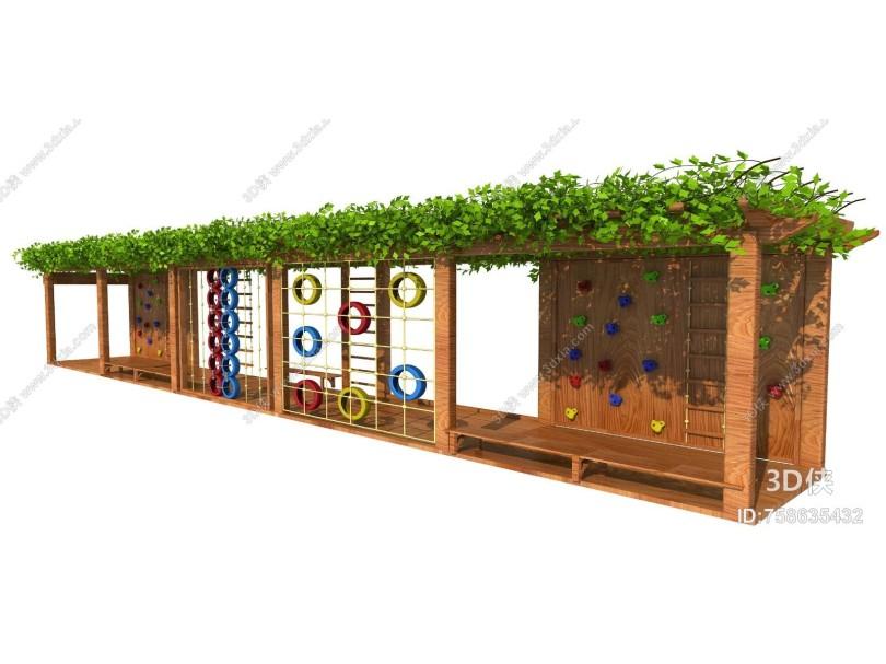 现代风格木质带攀爬葡萄架
