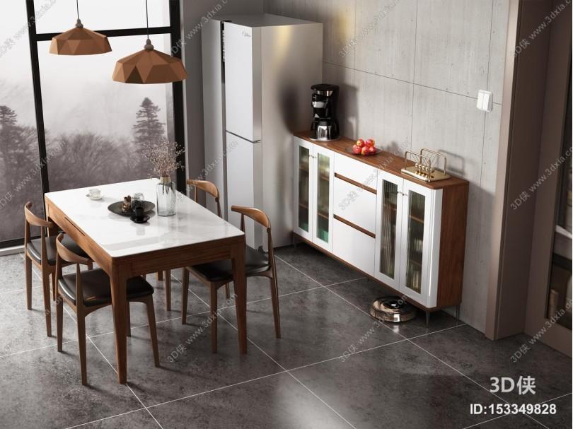 现代简约玻璃餐边柜