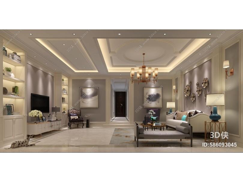 新古典客厅 吊灯 书柜