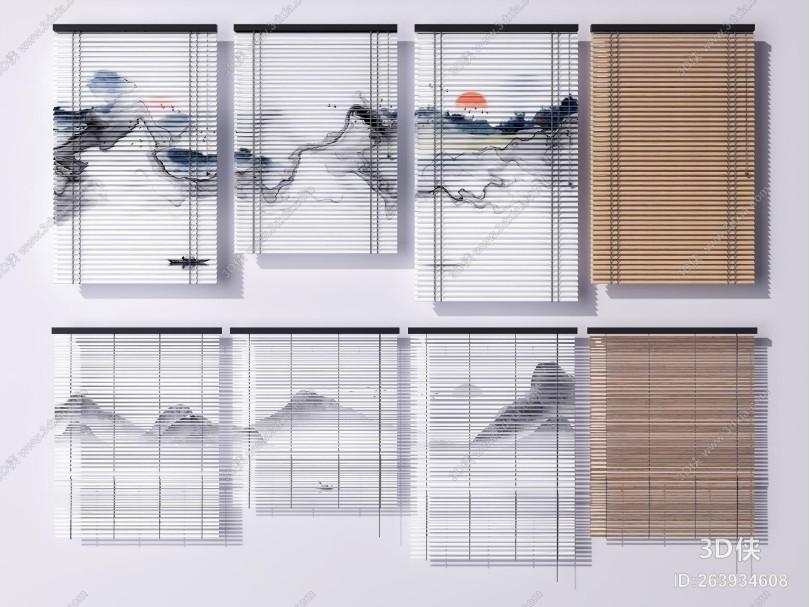 新中式百叶窗窗帘 山水窗帘