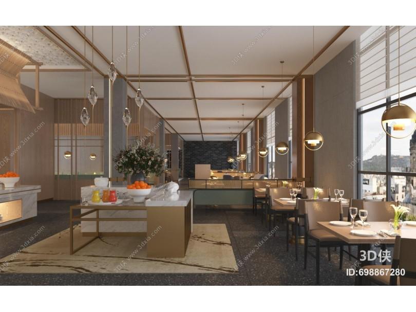 新中式餐厅餐饮 自助餐厅 吊灯 隔断