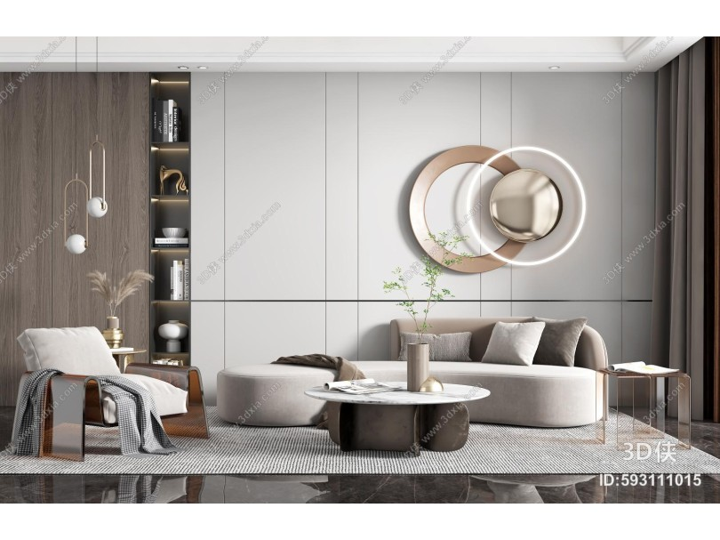 现代客厅 沙发茶几组合 摆件