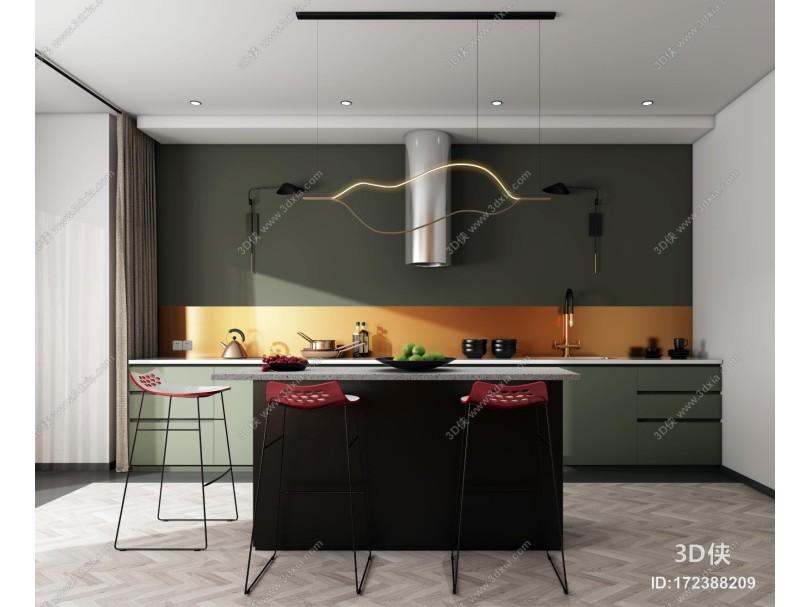 现代厨房 橱柜 中岛柜 吧台椅