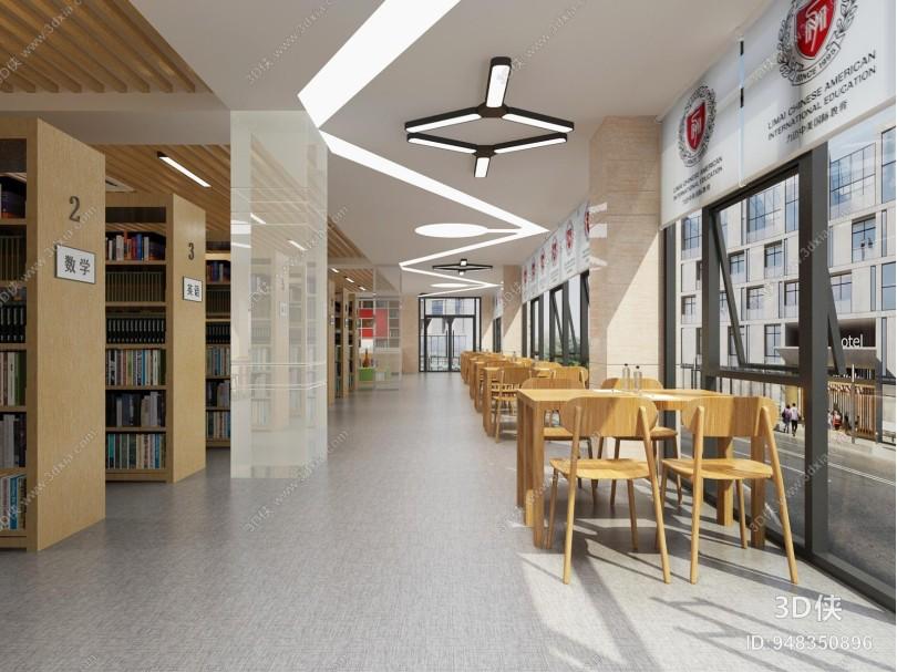 现代图书馆 吊灯 桌椅