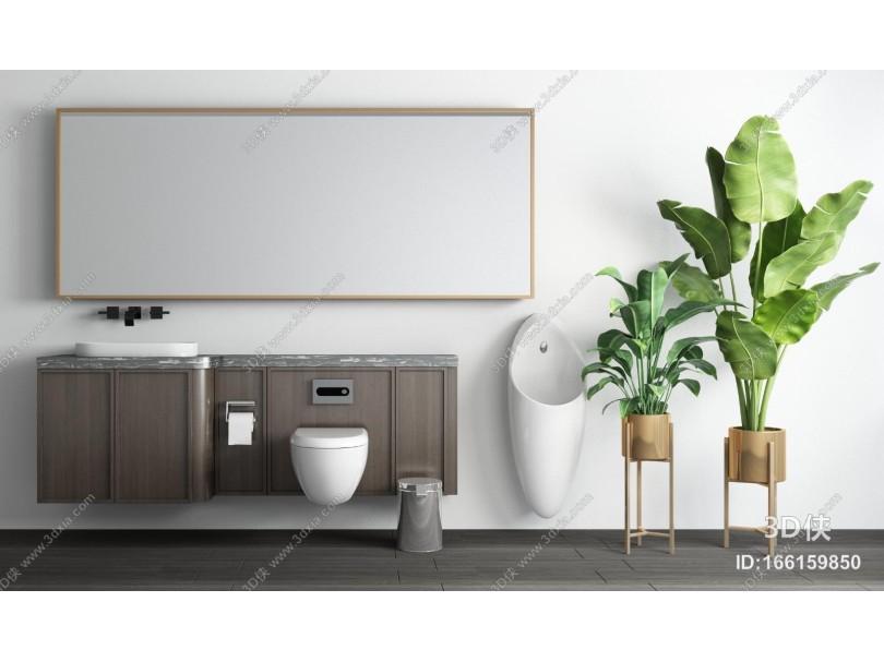 现代卫生间 洗手台 马桶 小便斗 绿植 盆栽 垃圾桶组合