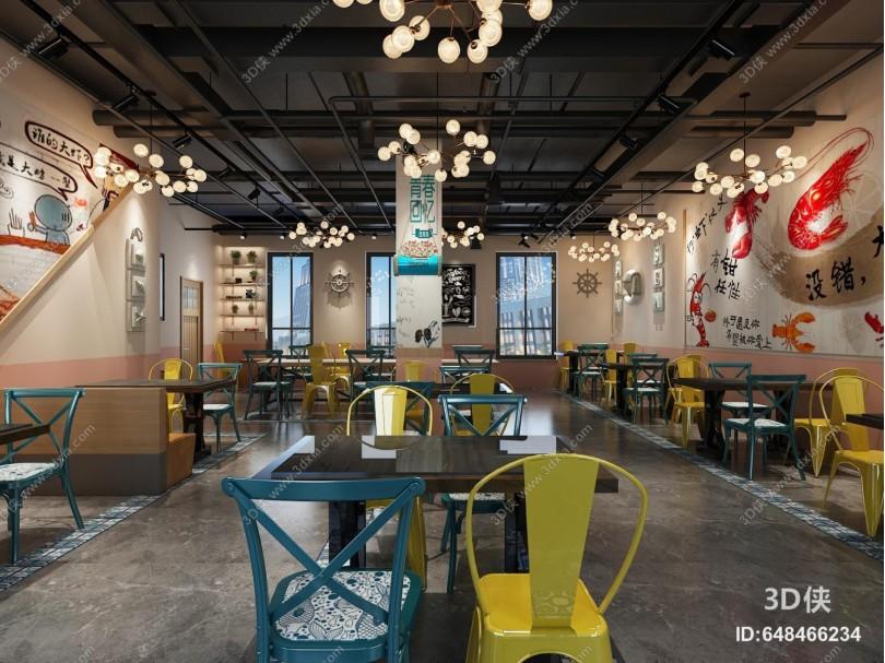 工业风休闲餐厅 吊灯 餐桌椅