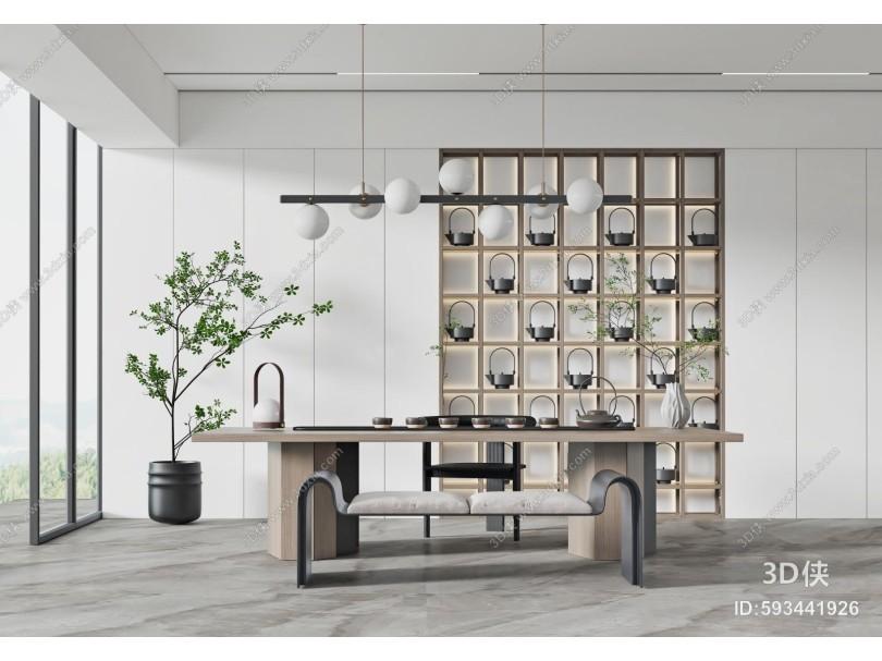 现代茶室 茶桌椅 茶具
