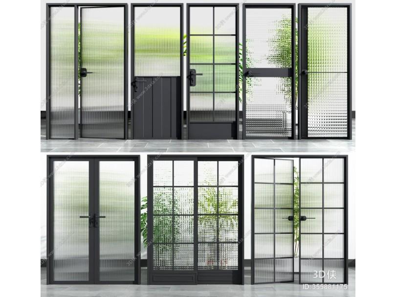现代工艺玻璃门 推拉门