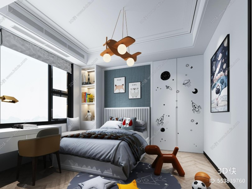 现代卧室 儿童房 吊灯 挂画