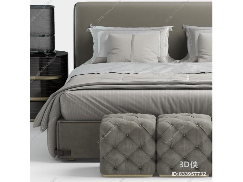 意大利芬迪Fendi現代布藝雙人床床頭柜床榻組合
