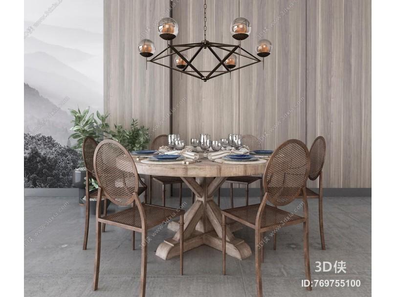 工业风餐桌椅 吊灯组合