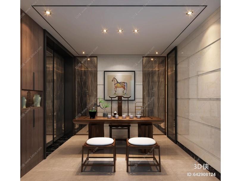 现代中式茶室 茶吧台 茶凳