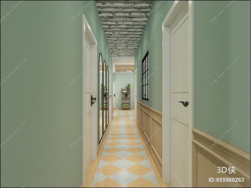 北欧美容院 休闲区 洽谈区 树干 镜面墙