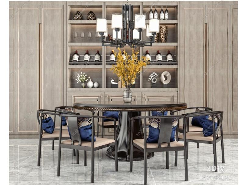 新中式风格餐桌椅 吊灯