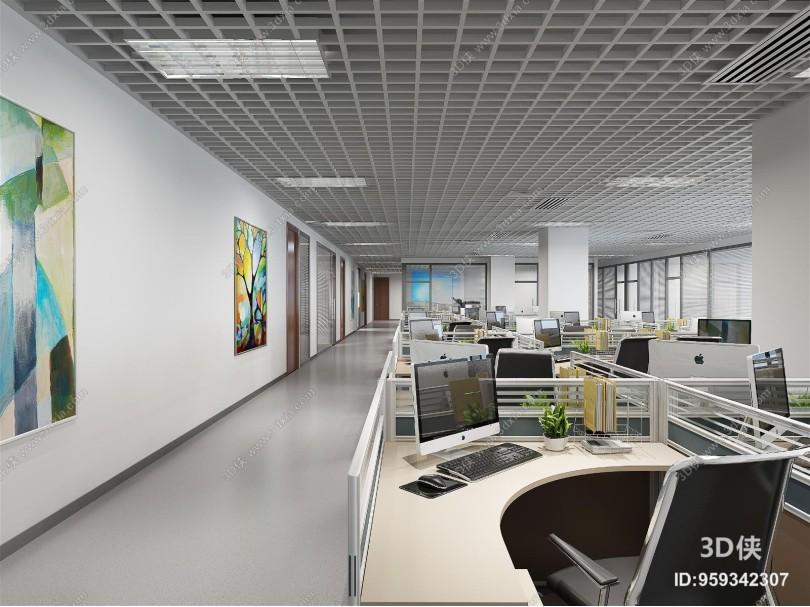 现代公共办公区 办公桌