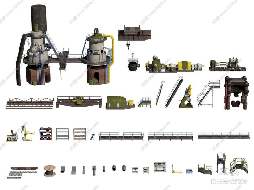 现代工业设备 机器 货架 工具架