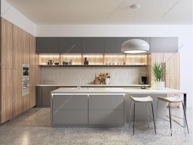 现代厨房橱柜岛台吧椅