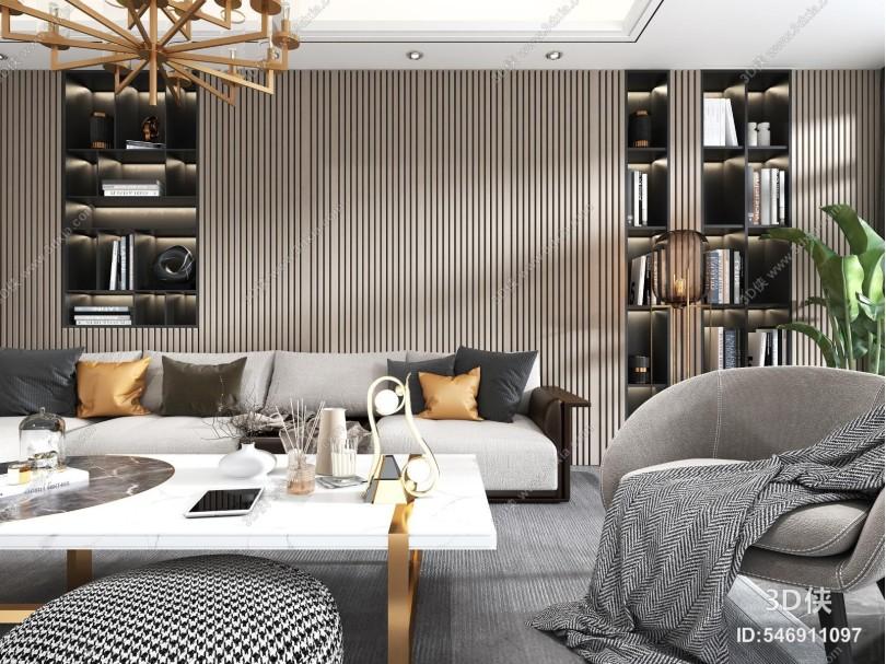 现代客厅 沙发组合 茶几