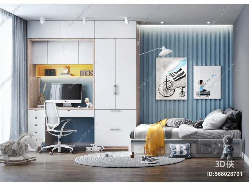 现代风格儿童房 儿童床 衣柜