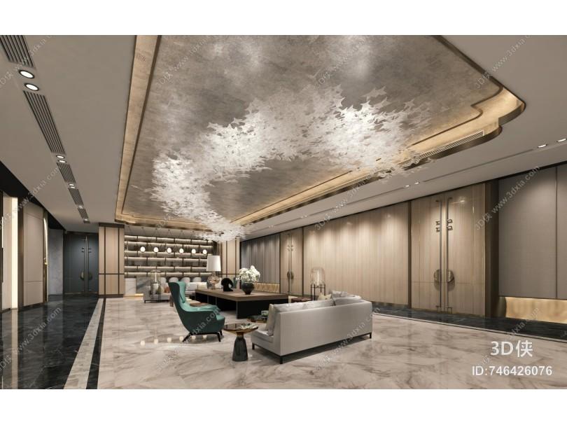 现代酒店大堂 前厅 休闲区
