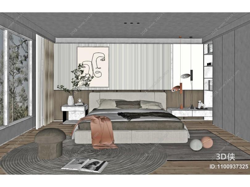 现代轻奢家居卧室 背景墙 双人床