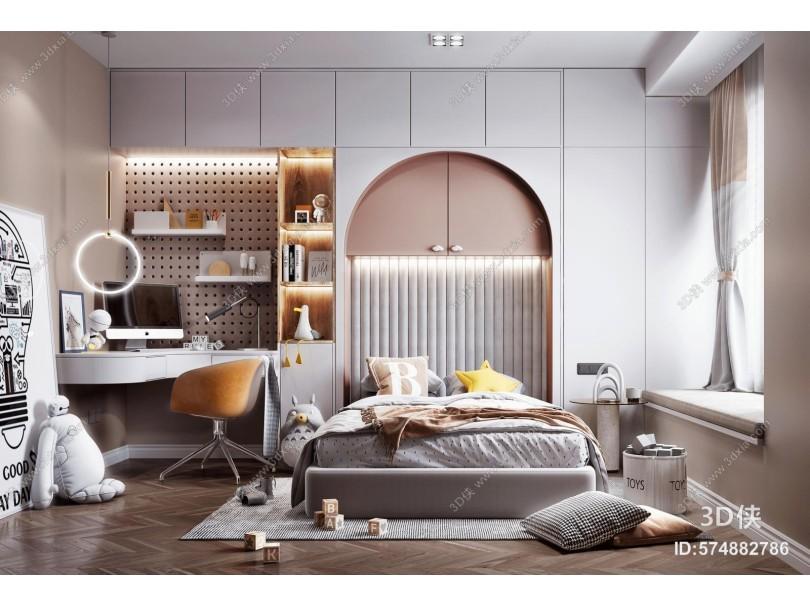 现代风格儿童房 儿童床 书桌