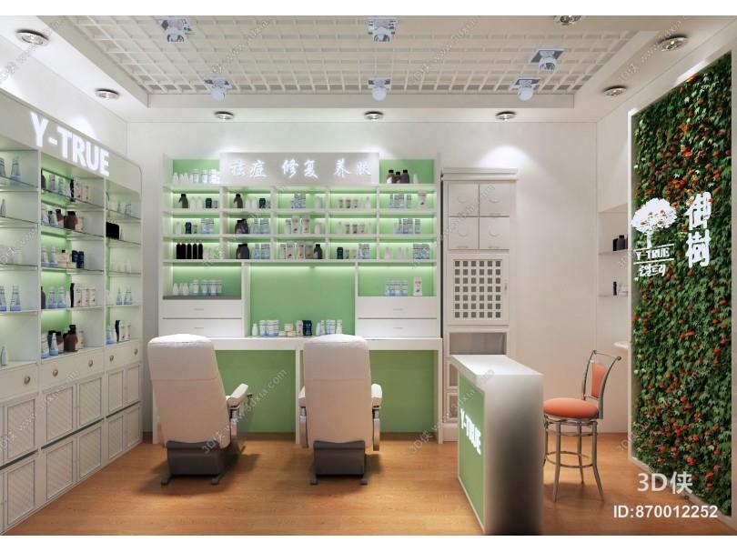 现代美容店 化妆品店 植物爬墙
