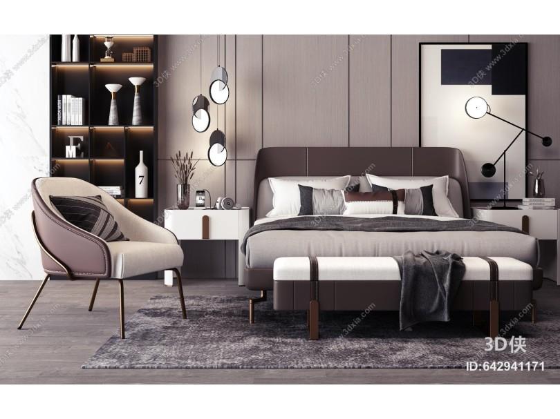现代双人床床头柜组合