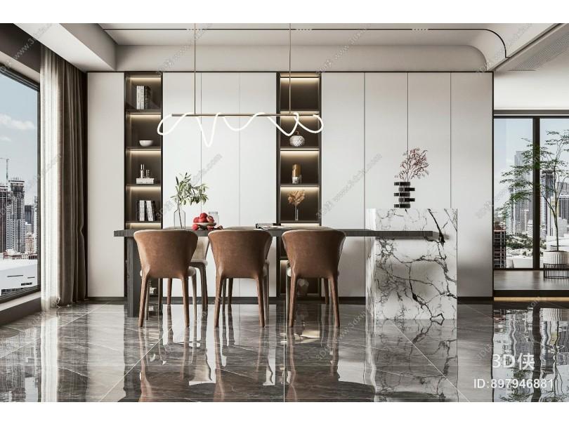现代餐桌椅 吧台 吊灯