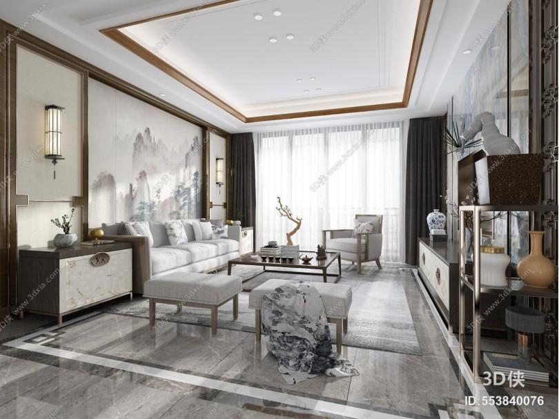 中式客厅 实木沙发