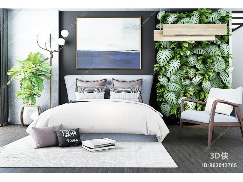 北欧床具 植物墙 组合