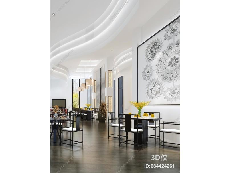 新中式风格餐厅 餐桌椅 盆栽 抱枕 挂画 吊灯