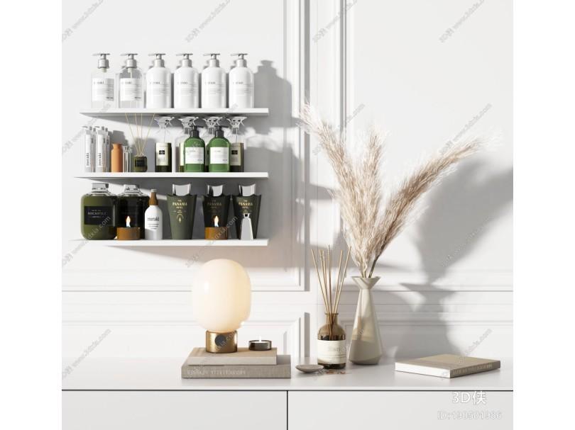 现代洗浴用品组合 洗涤用品 饰品