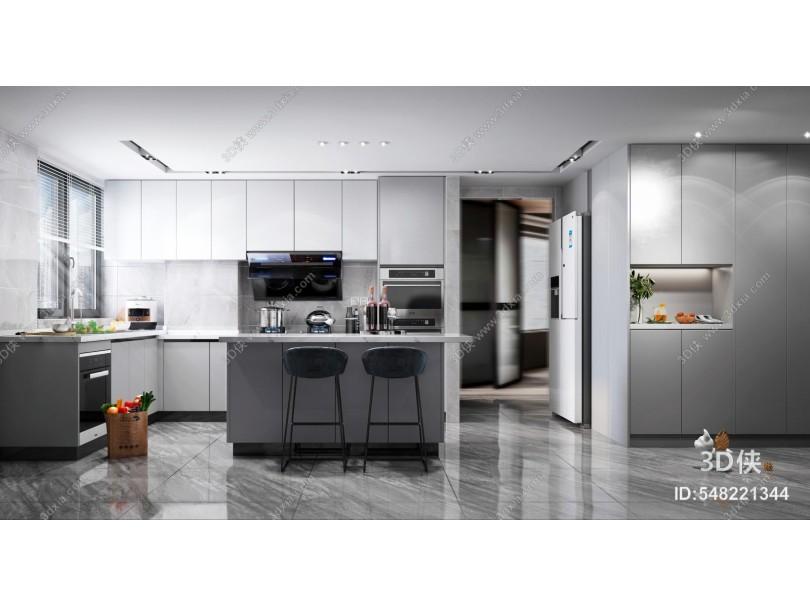 现代风格开放式厨房 岛台 吧台椅
