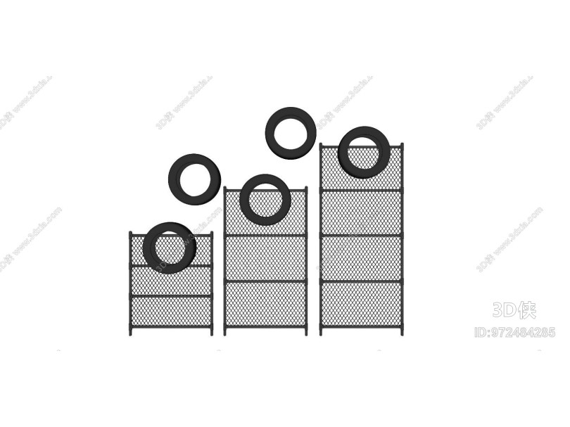 工业风墙饰 铁丝网轮胎