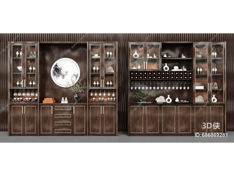 新中式酒柜组合 酒架 摆件
