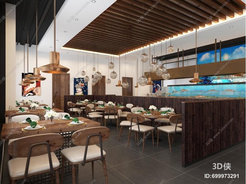 工业风海鲜餐厅 吊灯 挂画
