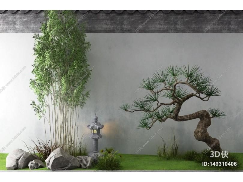 新中式景观小品 竹子 松树