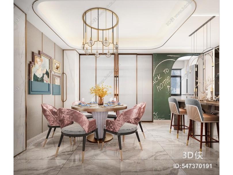 现代别墅餐厅 吧台