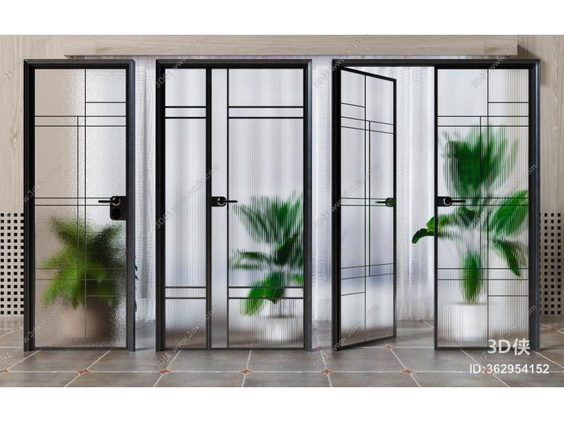 现代玻璃门组合